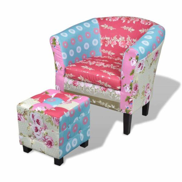 Französischer Sessel mit Fußhocker Patchwork-Design
