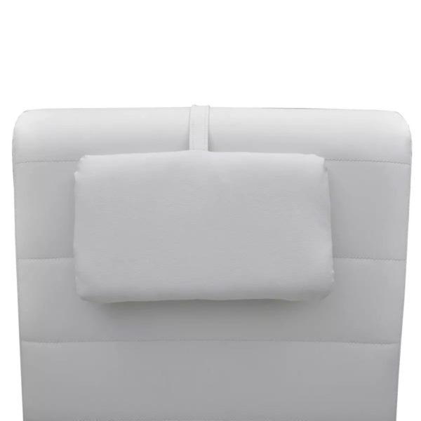 Chaiselongue mit Kissen Weiß Kunstleder