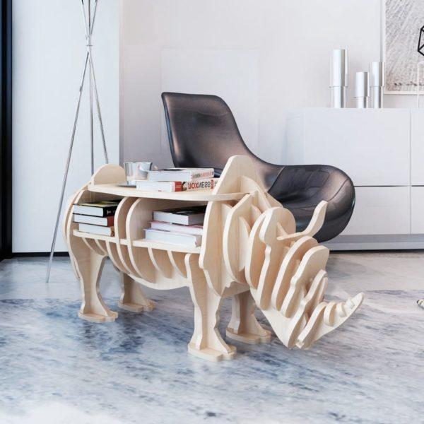 Holz Nashorn Regal Organizer Beistelltisch Tisch Holztisch