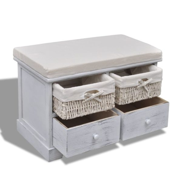 Sitzbank mit Stauraum Weiß 62×33×42 cm Paulownia Holz