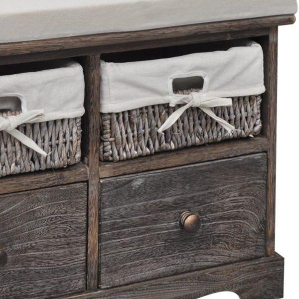 Sitzbank mit Stauraum Braun 62×33×42 cm Paulownia Holz
