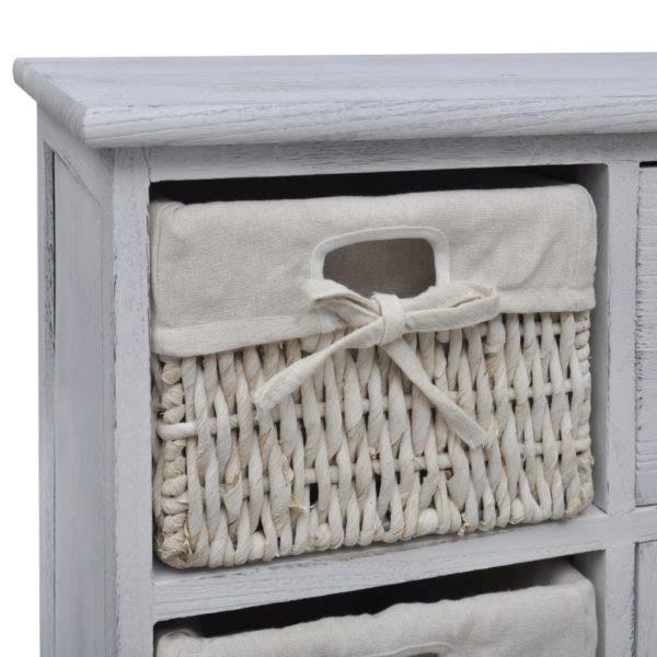 Holzschränkchen mit 3 Flechtkörben Weiß