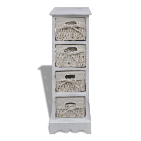 Holz-Schränkchen mit 4 Flechtkörben Weiß