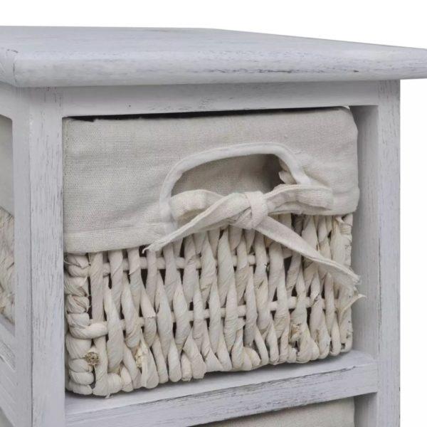 Holz-Schränkchen mit 5 Flechtkörben Weiß