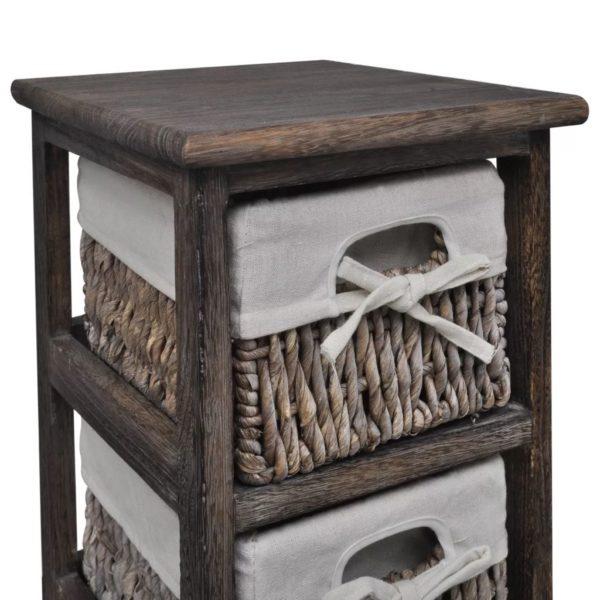 Holz-Schränkchen mit 3 Flechtkörben Braun
