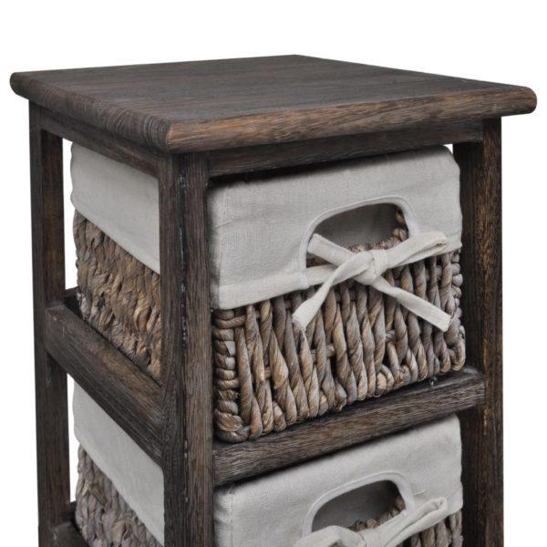 Holz-Schränkchen mit 5 Flechtkörben Braun
