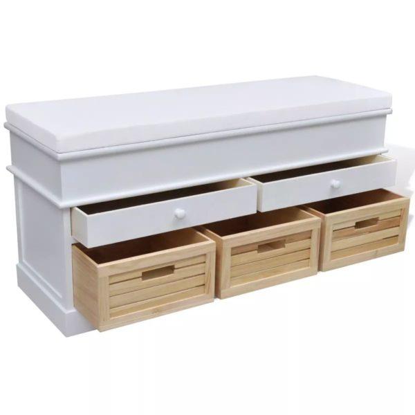 Schrank Sitzbank Truhenbank 2 Schubladen + 3 Kisten