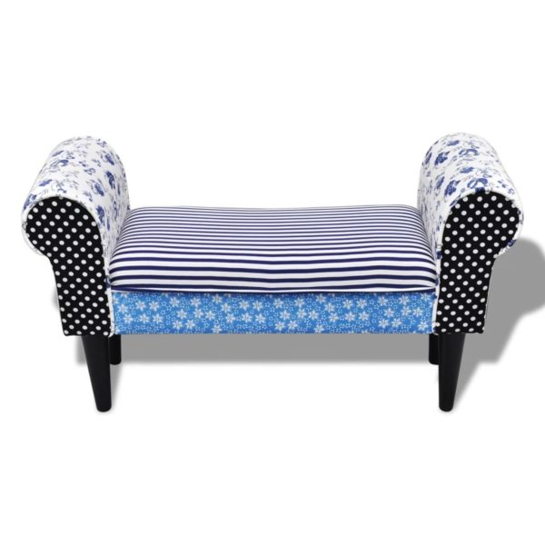 Patchwork Sitzbank Country Living Stil Blau & Weiß