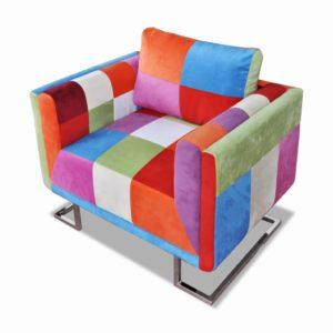 Würfel-Sessel mit verchromten Füßen Patchwork-Design Stoff