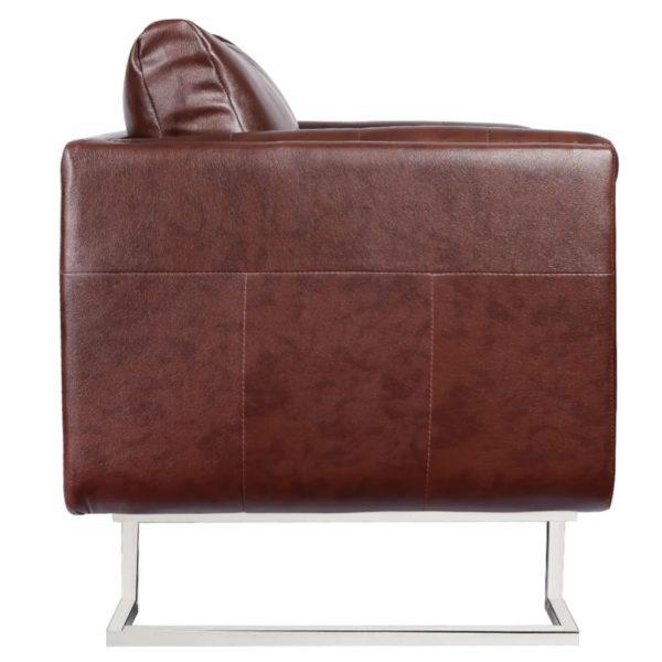 Würfel-Sessel mit verchromten Füßen Kunstleder Braun