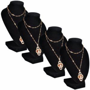 4x Samt Schmuckständer Halskette Ketten-Halter Büste Schwarz