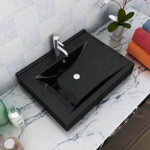 Luxuriöses, rechteckiges Keramik-Waschbecken mit Hahnloch