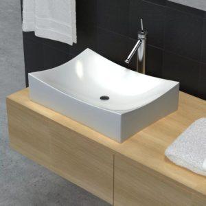 Keramik Porzellan Waschtisch Waschbecken Hochglanz Weiß