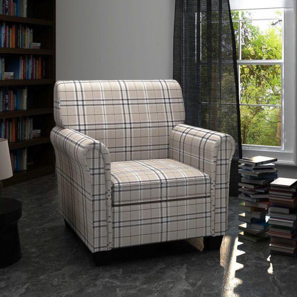Sessel mit Sitzpolster Cremefarben Stoff