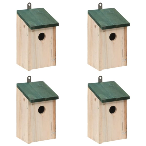 Vogelhäuser 4 Stk. Holz 12 x 12 x 22 cm