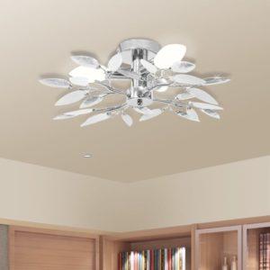 Deckenleuchte Weiße & Klare Acrylglas-Blätter 3 × E14-Lampen