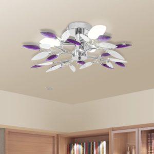 Deckenleuchte Weiße & Lila Acrylglas-Blätter 3 × E14-Lampen