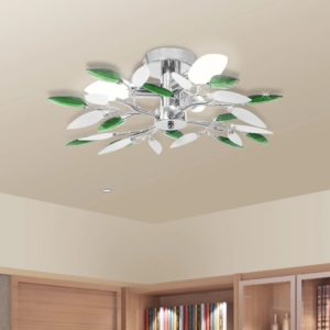 Deckenleuchte Weiße & Grüne Acrylglas-Blätter 3 × E14-Lampen