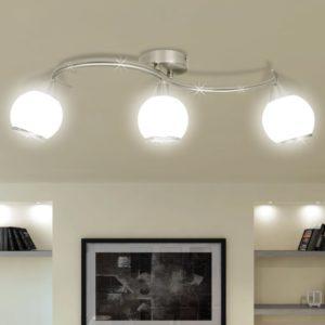Deckenleuchte mit Glasschirme auf geschwungener Schiene 3 × E14 Lampen