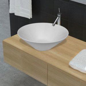 Keramik Waschtisch Waschbecken Becken Porzellan Weiß
