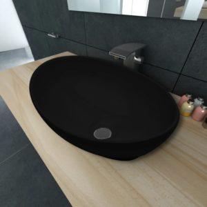 Keramik Waschtisch Waschbecken Oval schwarz 40 x 33 cm