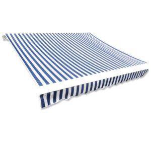 Markisenbespannung Canvas Blau & Weiß 4 x 3 m (ohne Rahmen)