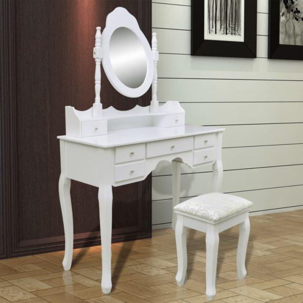 Schminktisch mit Spiegel und Hocker 7 Schubladen Weiß