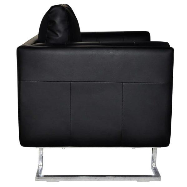 Würfel-Sessel mit verchromten Füßen Schwarz Kunstleder