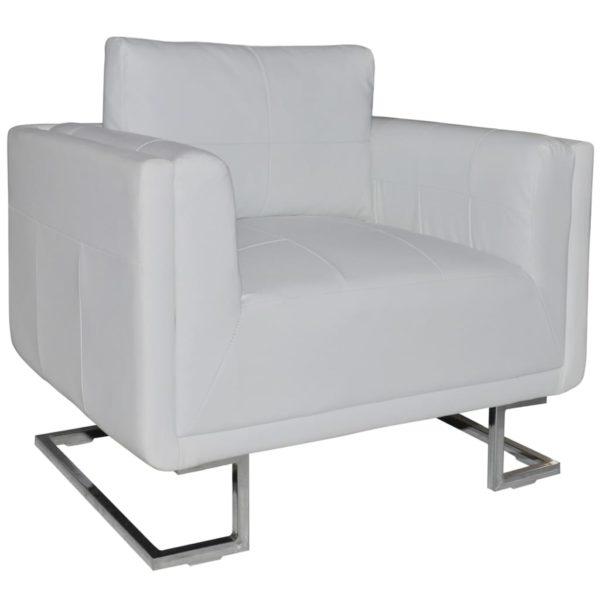 Würfel-Sessel mit verchromten Füßen Weiß Kunstleder