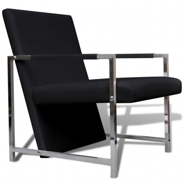 Sessel mit verchromten Füßen Schwarz Kunstleder