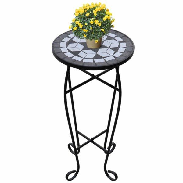 MOSAIK Beistelltisch Tisch Bistrotisch Blumenständer Schwarz