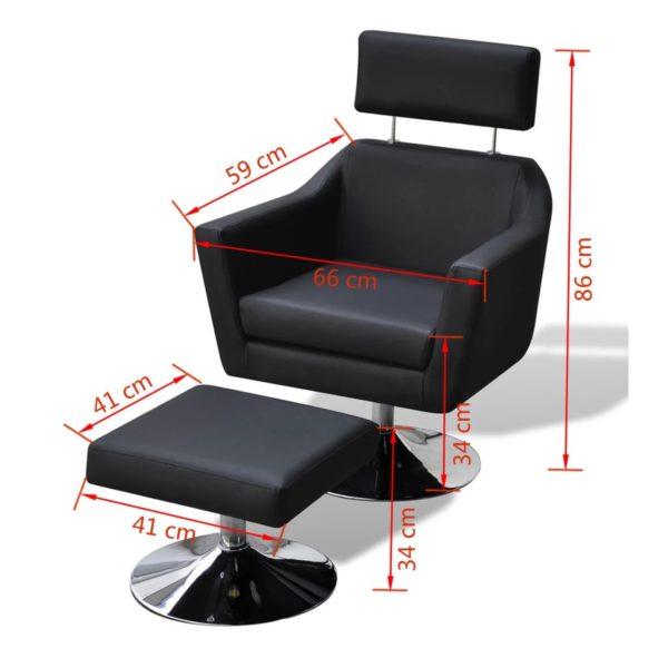 TV-Sessel Schwarz Kunstleder