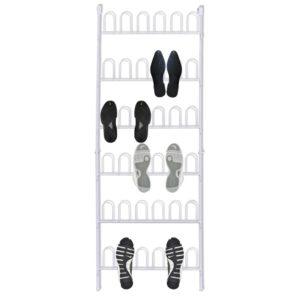 Weißes Schuhregal aus Stahl für 18 Paar Schuhe