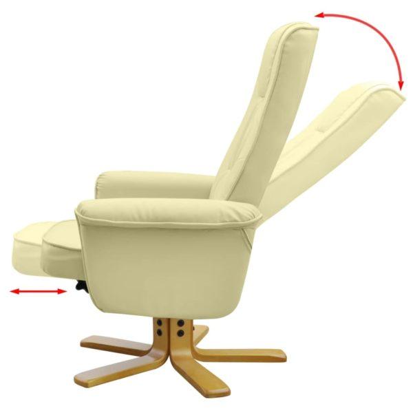 Sessel mit Fußhocker Creme Kunstleder