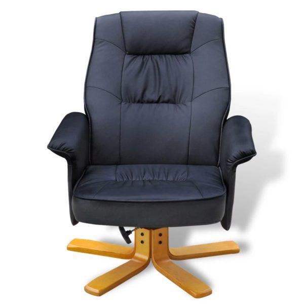 Sessel mit Fußhocker Schwarz Kunstleder