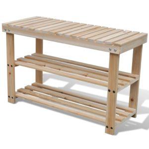 2-in-1 Schuhregal mit Sitzfläche Massives Tannenholz