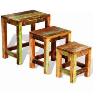 Satztisch-Set 3-tlg. Vintage Altholz