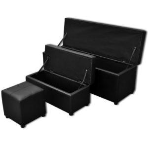 Aufbewahrungsbank Kunstleder schwarz Fußstütze Set 3-teilig