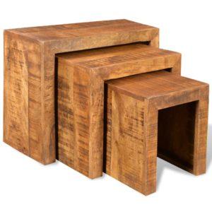Satztisch-Set 3-tlg. Massivholz Mango