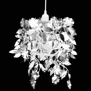 Blätter Pailletten Anhänger Kronlampe Silbern