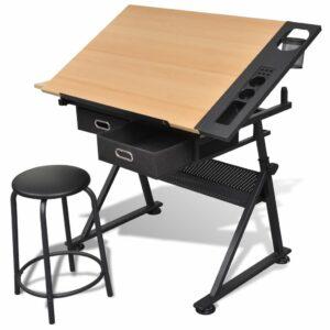 Zeichentisch mit neigbarer Tischplatte 2 Schubladen und Hocker