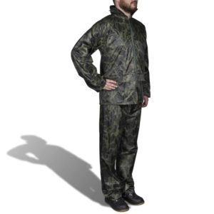 Tarnfarben Regenbekleidung für Männer 2-teilig mit Kapuze Größe XL