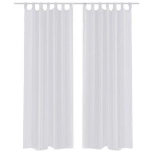 2 x Transparente Gardine Fertiggardine 140 x 175 cm weiß