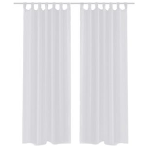 2 x Transparente Gardine Fertiggardine 140 x 225 weiß