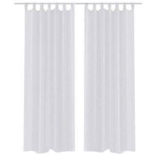 2 x Transparente Gardine Fertiggardine 140 x 245 cm weiß