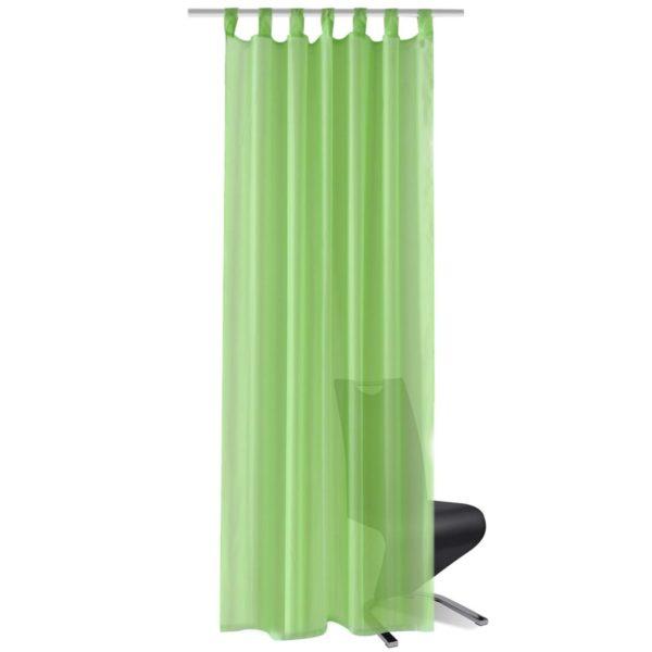 2 x Transparente Gardine Fertiggardine 140 x 225cm apfelgrün
