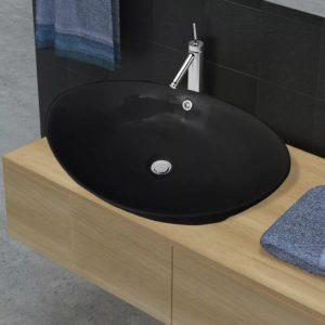 Luxuriöses Keramik Waschbecken Oval Schwarz