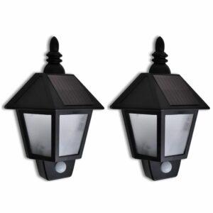 2x Solarwandlampe mit Bewegungssensor