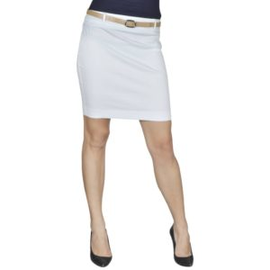Minirock mit Gürtel Weiß Gr. 34