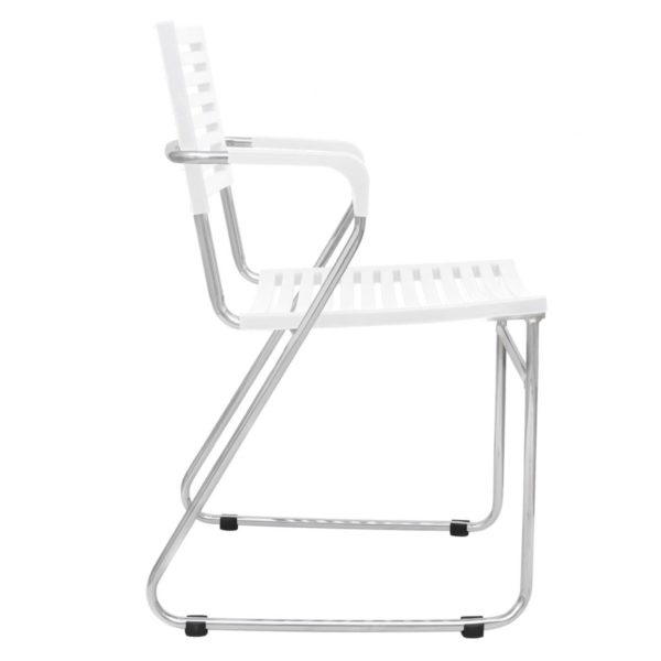 Stapelbare Esszimmerstühle 12 Stk. Weiß Kunststoff